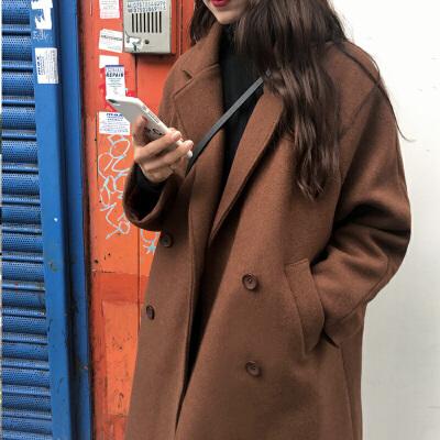 毛呢外套女中长款反季韩版宽松新款秋冬加厚修身显瘦学生纯色大衣