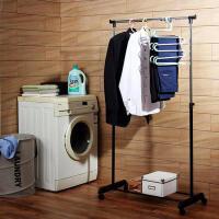 【缺货下架】ORZ 创意可升降室内单杆晾衣架落地 卧室伸缩挂衣架阳台晒衣架 增设底部横杆鞋架