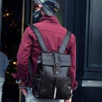 双肩包男潮韩版真皮男士小背包旅行包休闲男包时尚大学生书包