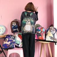 原宿韩版新款猫咪印花可爱书包中大学生双肩包男女学院风校园背包