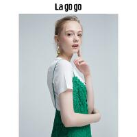 【6.29日限时秒杀价149】Lagogo/拉谷谷2018年夏季新款蕾丝镂空女连衣裙两件套HALL894M41