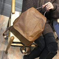 韩版简洁双肩包2018潮流休闲软皮包包时尚轻便旅行包防盗