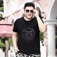 大码男装t恤夏装印花体恤宽松肥佬加肥加大号胖子半袖短袖男 2XL 160至180斤