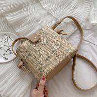 包包斜挎百搭女包新款2109流行蕾丝刺绣斜挎小包女水桶包