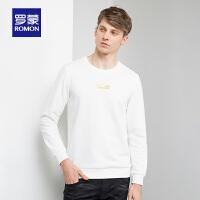 �_蒙(ROMON)男士�L袖T恤2020秋季新款�r尚休�e打底衫中青年潮流印花上衣