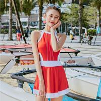 女士泳衣 连体 裙式 女士连体裙式韩版游泳衣小清新温泉泳装 红色 M【85-95斤】