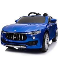 玛莎拉蒂儿童电动车遥控汽车四轮可坐越野童车宝宝玩具车可坐人 玛莎拉蒂【蓝色】摇摆+助力转向 塑料发光轮