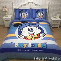 卡通 巴布可爱豆三四件套小狗男女孩纯棉磨毛加厚儿童床上用品