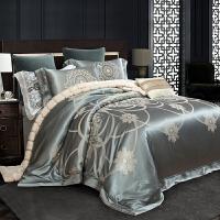 欧式别墅样板间靓彩丝贡缎提花四件套纯棉全棉被套床上用品 维卡娜 柳绿