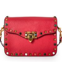 新款单肩斜跨小方包时尚彩色铆钉女包潮流百搭宽带手提包大容量中性妈咪包 红色