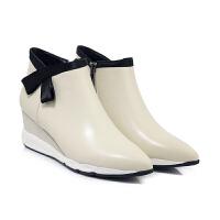 复古英伦风高帮尖头及踝靴女真皮坡跟马丁短筒靴拼色冬秋裸单鞋女