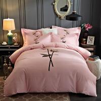 家纺全棉磨毛四件套棉加厚1.5米床单套件冬季1.8m床上用品 2.0(6.6英尺) 床