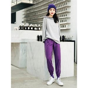 七格格灰色长袖卫衣秋装女2018新款韩版一字肩宽松条纹拼接学生运动早秋