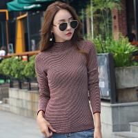 秋装新款毛线衣女长袖韩版修身显瘦条纹薄款半高领毛衣针织衫