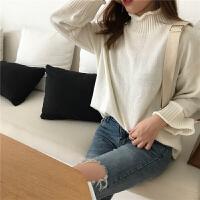 高领毛衣女春装新款韩版纯色宽松显瘦长袖上衣针织衫打底衫 均码