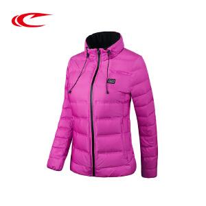 赛琪女士纯色立领羽绒服女冬季新款女式户外运动服保暖灰鸭绒外套