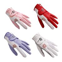 高尔夫手套女 双手 弹力透气防滑薄款 白 粉 紫 红 golf用品