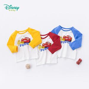 迪士尼Disney童装 男童t恤卡通麦昆纯棉上衣宝宝肩开扣长袖运动休闲服183S1055