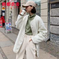 韩都衣舍2019韩版女装冬装新款两面穿宽松外套加厚棉衣NF11647��