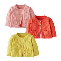 童装秋季女宝宝婴儿全棉镂空针织衣粉红色开衫黄色薄款外套毛线衣
