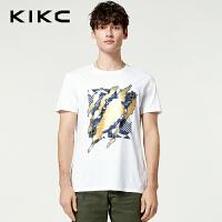 kikc男装短袖T恤2018夏季新款时尚圆领个性印花白色休闲上衣男士