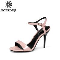 波尔谛奇2018夏新款时尚凉鞋女一字型中空细跟潮流超高跟鞋96055