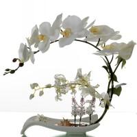 手感仿真蝴蝶兰套装假花盆栽装饰花中式餐桌家居客厅玄关摆件花艺