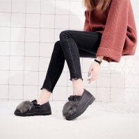 冬季棉鞋女豆豆鞋老北京布鞋女鞋加绒保暖雪地靴平底一脚蹬毛毛鞋