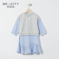 【1件2.5折到手价:70】米喜迪mecity童装春新款女童假两件时尚拼接连衣裙洋气潮