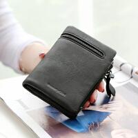 女士钱包女短款复古磨砂拉链暗扣多功能小零钱包皮夹钱夹