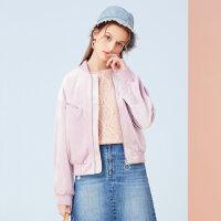 美特斯邦威 2018春装新款复古丝绒夹克女ins小个子外套韩版潮流X