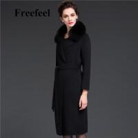 Freefeel2017新款女春装羊绒大衣欧美风中长款时尚大毛领毛呢外套1695大毛领