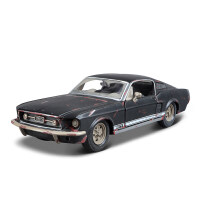 1:24福特野马合金汽车模型做旧仿真原厂金属汽车车模摆件 做旧版野马 半哑黑087