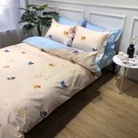 小清新纯棉四件套床上三件套简约床单全棉被套床笠
