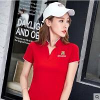 时尚新款大码 韩版上衣运动短袖t恤女立领大码体恤纯棉女装polo衫