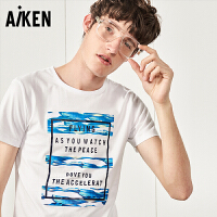森马旗下Aiken短袖T恤男士夏装新款圆领夏季潮牌体恤纯棉半袖上衣