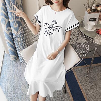 夏季中长款孕妇裙子宽松韩版 孕妇夏装上衣2018孕妇连衣裙