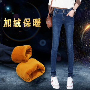 秋冬季新款女装加绒加厚保暖牛仔裤子显瘦百搭长裤
