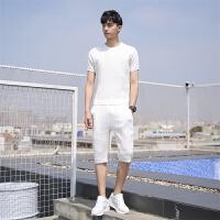短袖T恤男潮个性时尚休闲黑白套装夏天五分裤新款韩版潮流两件套