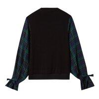 【1件4折到手价:71.6】美特斯邦威长袖衬衫女个性拼接格子衫复古港风上衣秋装新款