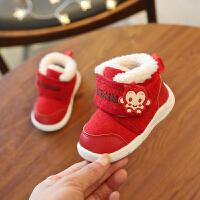 冬季新款加绒软底宝宝棉鞋儿童雪地靴保暖学步鞋0-1-2婴儿棉鞋潮