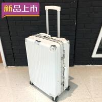 2018直角行李箱复古铝框拉杆箱24寸男万向轮旅行箱收纳28女20寸26小型 白色 复古款 20寸(收藏送透明箱套)