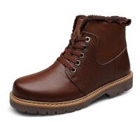 冬季大码棉皮靴男加绒真皮男棉鞋中老年人鞋子男 爸爸冬季 靴子