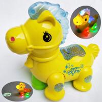 儿童音乐炫彩小马 宝宝电动玩具车 婴儿小男孩女孩0-1-2-3岁4 颜色随机