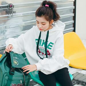欧若珂  2018秋季韩版学院风字母印花宽松泡泡袖抽绳连帽卫衣女