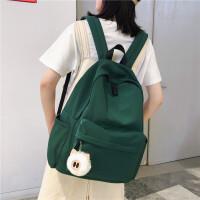 纯色书包高中女生小清新百搭双肩包初中学生休闲背包电脑包潮