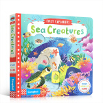 英文原版First Explorers Sea Creatures 海洋动物推拉滑动机关操作纸板书 小小探险家 儿童知