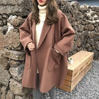茧型毛呢外套女冬季新款韩版学院风bf宽松中长款西装领呢子大衣潮