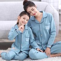 儿童睡衣长袖夏季女童中大童家居服小孩母女亲子宝宝套装薄