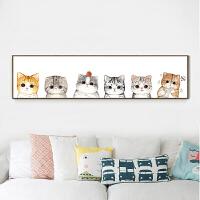 印花十字绣2018线绣客厅卧室可爱猫咪儿童简约欧式小幅床头画
